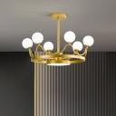Kids Crown Flush Mount Fixture Metallic 6 Lights Bedroom Semi-Flush Ceiling Light with Globe Glass Shade in Gold