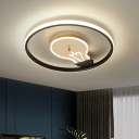 Bulb Shaped and Ring Flushmount Lighting Modern Acrylic LED Black Close to Ceiling Light for Bedroom