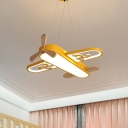 Plane Acrylic Chandelier Lighting Fixture Cartoon LED Yellow Hanging Pendant Light