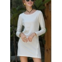 Simple Solid Color Knitted Long Sleeve Round Neck Button Sides Short Shift Dress for Women