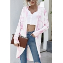 Pretty Tie Dye Printed Long Sleeve Open Front Relaxed Fit Knit Cardigan for Women