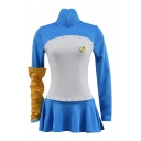 Cool Long Sleeve Stand Collar Panel Contrasted Fit Tee Top & Mini Pleated Skirt Blue Set with Glove