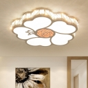 White Rose Shape Flush Mount Modern Style LED Acrylic Ceiling Lighting for Bedroom