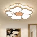 White Rose Shape Flush Mount Modern Style LED Acrylic Ceiling Lighting for Bedroom