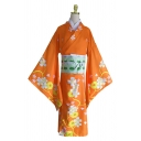 Vintage Mens All Over Flower Printed Bell Long Sleeve Surplice Tied Waist Long Loose Fit Kimono in Red