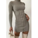 Stylish Solid Color Long Sleeve Mock Neck Lace-up Mini Bodycon T Shirt Dress for Ladies