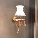 Minimalist Done Wall Light Fixture Fabric 1 Bulb Parlor Wall Mounted Lamp with Crystal Drop in Pink/Blue