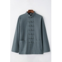 Vintage Chinese Style Simple Plain Stand Collar Frog Button Down Casual Linen Cardigan Coat Jacket
