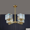 Postmodern Radial Hanging Light 4/6 Bulbs Crystal Cube Chandelier Lighting in Gold for Bedroom