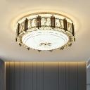 Modern Drum Ceiling Flushmount Lamp Beveled Cut Crystal LED Flush Mounted Light in Gold