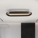 Oval Frame Metal Flush Mount Simple Style Black-White/Black-Gold LED Flush Lighting Fixture in White/Warm Light, 16