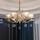 6/8-Bulb Lotus Ceiling Chandelier Traditional Gold Crystal Hanging Light Fixture with Drops