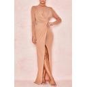 Elegant Womens Glitter Semi-sheer Mesh Long Sleeve Round Neck Twist Front Slit Front Long Sheath Dress in Pink