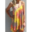Fancy Womens Tie Dye Pattern Sleeveless Pleated Tunic Loose Fit Cami Top