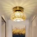 Pumpkin Shape Flush Mount Light Modern Clear/Amber Glass 1-Light Gold Flush Lamp Fixture, 5.5
