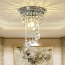 Spiral Mini Foyer Ceiling Flush Modern Crystal 1-Bulb Clear Flush Mount Lighting Fixture
