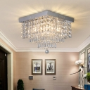 4 Bulbs Square Tiers Flush Mount Modern Style Clear Crystal Drapes Close to Ceiling Light, 10