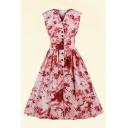 Allover Flower Printed Sleeveless V-neck Button down Retro Midi Pleated Swing Dress for Girls