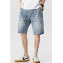 Chic Denim Shorts Light Wash Zip Fly Button Pocket Topstitching over the Knee Regular Fitted Mid Rise Denim Shorts for Men