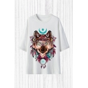 Chic T-Shirt Wolf Moon Feather Pattern Half Sleeve Round Neck Relaxed Fitted T-Shirt for Men