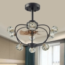 5 Blades 9 Bulbs Flush Ceiling Fan Rural Living Room Semi Flush Light with Ball Faceted Crystal Shade in Black, 24.5