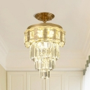 Crystal Prisms LED Tiered Semi Flush Ceiling Light Modern Clear Ceiling Mounted Fixture, in Warm Light