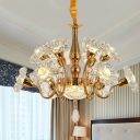 12-Head Flowers Ceiling Suspension Lamp Postmodern Gold Clear Crystal Hanging Chandelier