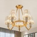 Prismatic Crystal Cone Semi Flush Postmodern 5 Lights Restaurant Ceiling Mount Chandelier in Gold