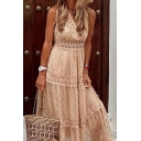Popular Womens Polka Dot Printed Sleeveless Surplice Neck Ruffled Lace-trimmed Maxi Pleated A-line Dress in Apricot