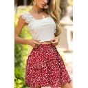 Gorgeous Womens Ditsy Floral Pattern Stringy Selvedge High Waist Mini Pleated A-line Skirt in Red