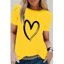 Simple Womens Heart Printed Crew Neck Short Sleeve Regular Fit Tee Top