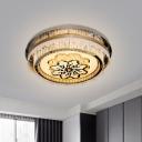 Crystal Drum Flush Ceiling Light Modernist Living Room LED Flush Mount in Nickel