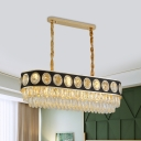 2-Tier Oblong Crystal Island Light Modernist 10-Light Dining Room Hanging Pendant in Black