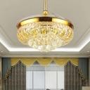 Gold Bowl Shape Ceiling Fan Light Modern Crystal Living Room 19