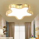LED Nursery Flush Light Fixture Modern Style Stainless-Steel Ceiling Mounted Light with Starfish Crystal Shade