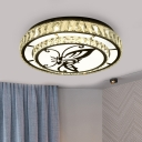 Contemporary LED Flush Light Fixture with Cut Crystal Shade Stainless-Steel Butterfly/Penguin Ceiling Lamp for Living Room