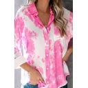 Casual Tie Dye Button-down Collar Long Sleeve Relaxed Fitted Shirt Top for Women