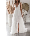 Pretty Womens Plain Hollow Out Lace Slit Backless Deep V Neck Spaghetti Straps Sleeveless Floor Length Fit&Flare Slip Gown in White