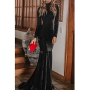 Black Sexy Womens Solid Color High Neck Long Sleeve Floor Length Sheath Mermaid Gown Backless Dress