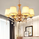 6-Bulb Chandelier with Candle Crystal Traditional Parlor Ceiling Suspension Lamp in Gold with Pleated Shade