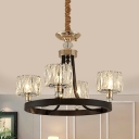 4-Head Dining Room Ceiling Lamp Contemporary Black Chandelier with Cylindrical Prismatic Optical Crystal Shade