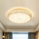 Drum Crystal LED Flush Mount Lighting Contemporary Gold Close to Ceiling Lamp with Floral Design