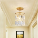 Faceted Crystals Cylinder Semi Flush Light Modern 1 Head Close to Lighting Fixture in Gold for Doorway