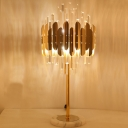 Prismatic Optical Crystal Hexagon Table Light Contemporary LED Night Lamp in Gold with Marble Base