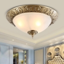 2/3-Bulb Flush Mount Lighting Antique Bedroom Ceiling Lamp with Bowl Opal Glass Shade in Brass, 12