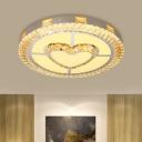 Loving Heart/Diamond/Flower/Star Ceiling Lamp Contemporary Crystal Prisms LED Silver Flush Mount Lighting for Bedroom