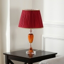 Red Barrel Shade Desk Lighting Traditional Pleated Fabric Single Parlor Night Table Lamp with Amber Crystal Stand