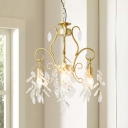 3 Heads Chandelier Lighting Traditional Candlestick Metallic Pendant in Gold with Draped Branch Crystal Deco