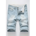 Cozy Mens Denim Shorts Light Wash Zip Fly Button Pocket Distressed Knee Length Mid Rise Straight Fit Denim Shorts with Pocket