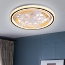 Round Acrylic Flushmount Modern Style LED White Close to Ceiling Lamp with Geometric/Flower Pattern